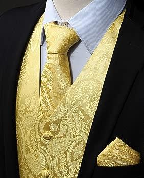 ENLISION Chaleco para hombre Paisley Floral Jacquard Corbata Bolsillo Cuadrado Panuelo Conjunto Traje