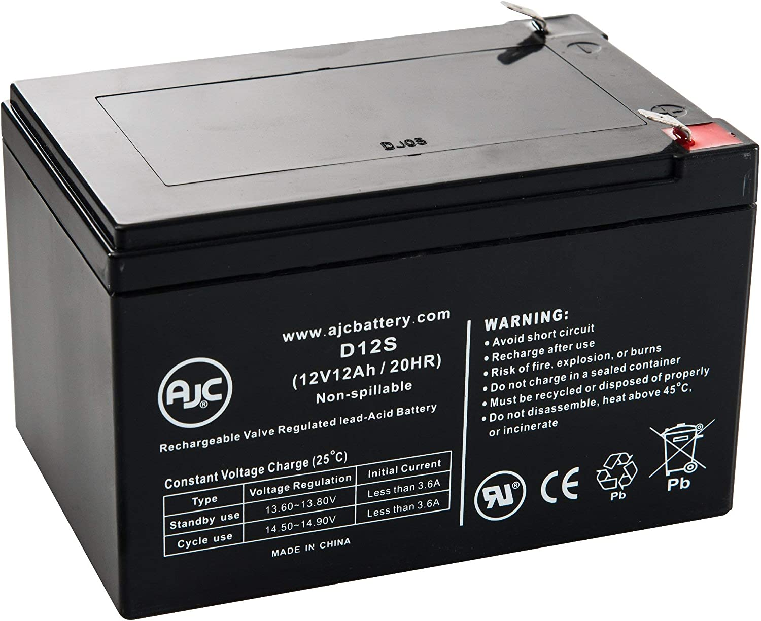 This is an AJC Brand Replacement APC 520ES 12V 12Ah UPS Battery