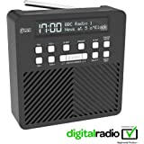 AZATOM Sonance T1 DAB Digital FM Radio Alarm Clock - Speaker System - Dual Alarm - Clock Radio - Rechargable Battery - USB Charging (Black)
