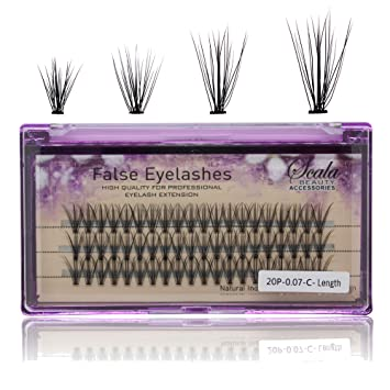 a6469d2a285 Amazon.com : Scala 8/10/12mm Thickness 0.07mm C Curl Individual Flare False  Eyelashes 20 Hairs/Cluster Fake Lashes False Eyelashes Extension (8mm) :  Beauty