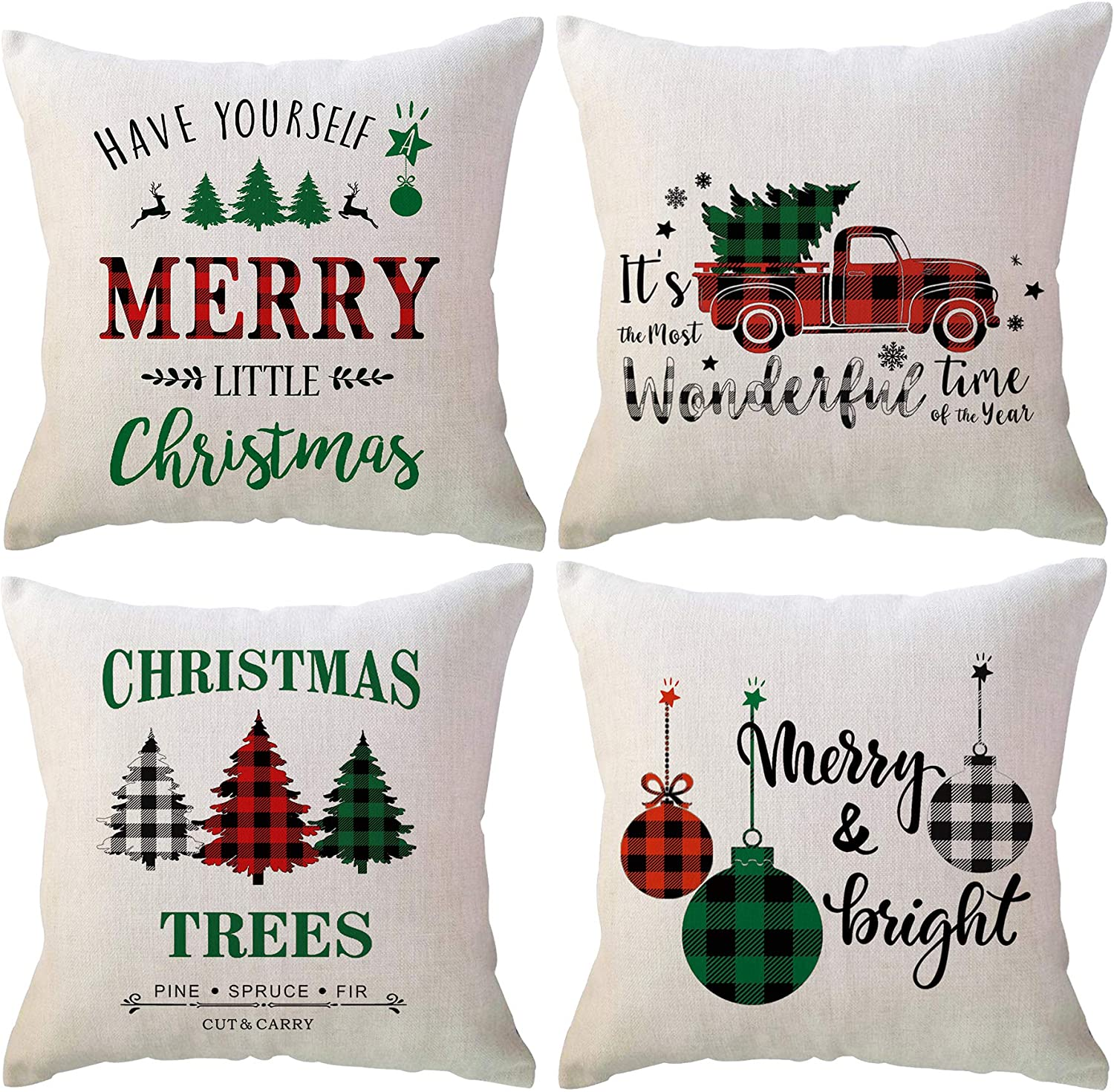 4Pack Christmas Throw Pillow Covers 18 x 18 Inches Red Black Green Buffalo Check Plaids Xmas Trees /Wonderful Time Truck/Christmas ball Holiday Decorative Cushion Pillowcases for Couch/Sofa