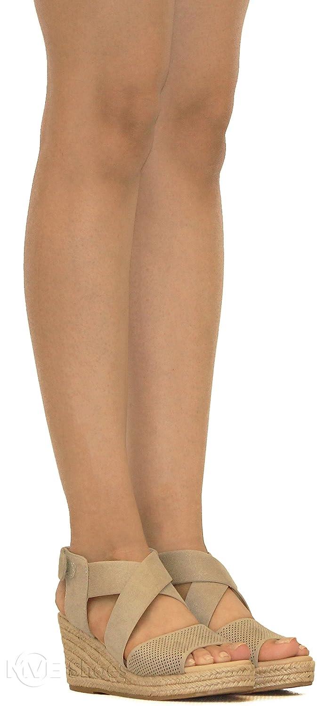 MVE Shoes Women's Open Toe Espadrille Mid Platform -Strappy Back Velcro Summer Sandals - Fashion Wedges B07B8DPLMX 5.5 B(M) US Clay Isu*p
