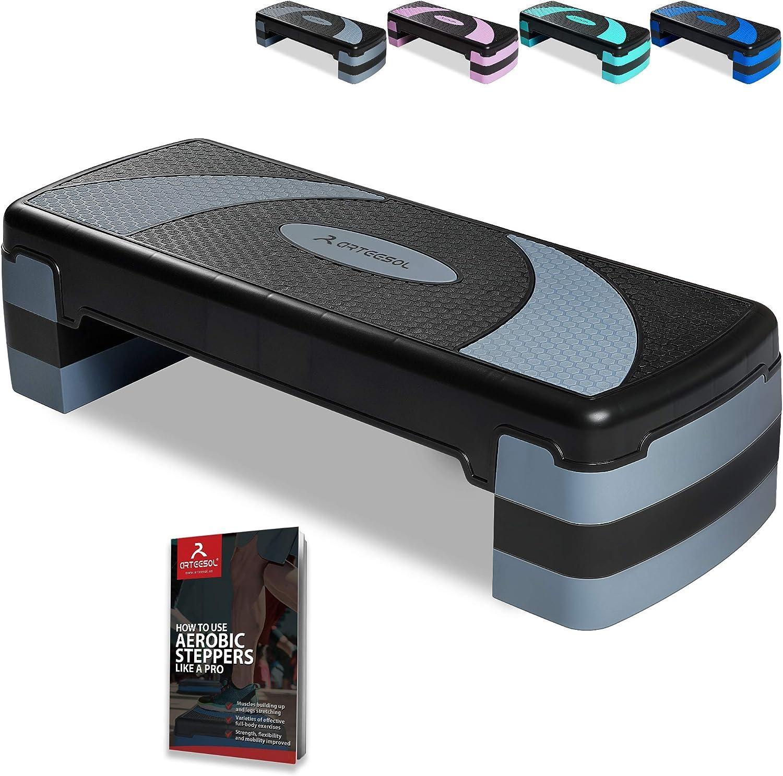 arteesol Step de Aeróbic Stepper para Fitness Plataforma de Altura Ajustable(10/15/20 cm), Stepper Aróbic y Cardio para Ejercicios Gimnasia en casa y en la Oficina(78x30cm), Carga Máx 250kg