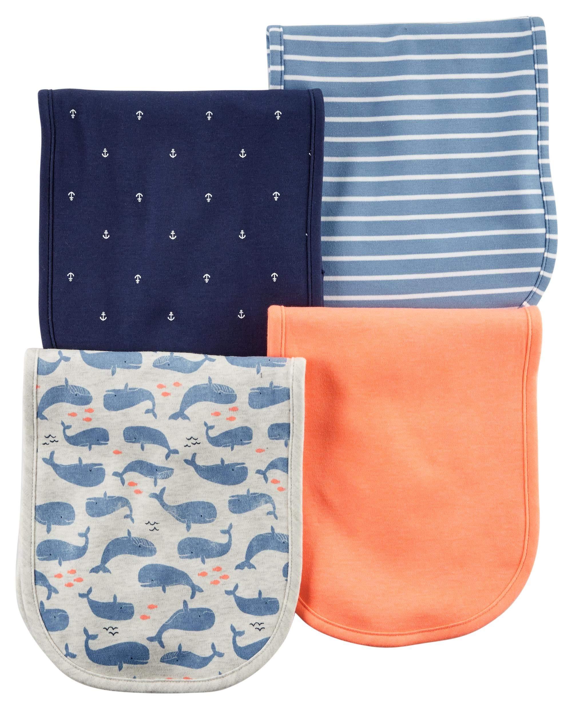 Carter's Baby Boy Ocean Whales Nautical 4-Pack Burp Cloths