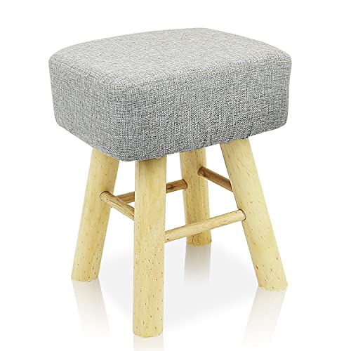 DL furniture – Square Ottoman Foot Stool, 4 Leg Stands Square Shape ,Long Leg Linen Fabric, Gray Cover