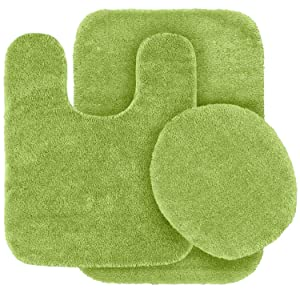 Mk Home 3pc Absorbent Bath Mat Set Solid Sage Green with Bath Rug, Contour Mat and Toilet Seat Lid Cover Non-Slip Rubber Blacking New