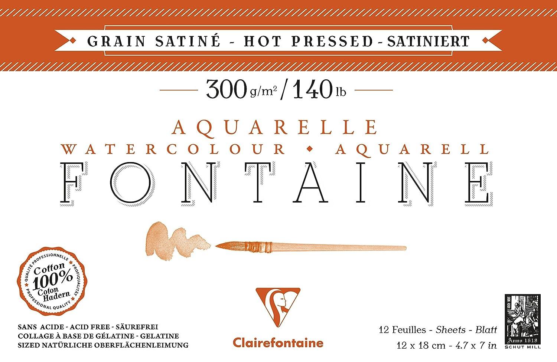 Clairefontaine 96344C Aquarellblock Fontaine Satiné (100% Hadern, feinkörnig, glatt, für Nass- und Trockentechniken geeignet, säurefrei, 300g, 23 x 31 cm, 20 Blatt) weiß