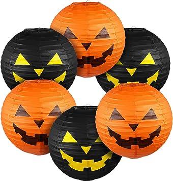 Blulu 6 Pieces Halloween Hanging Paper Lanterns Set, Halloween Pumpkin Paper Jack-O'-Lantern for Halloween Spooky Home Party Decoration, 11.8 x 11 Inch
