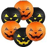 Blulu 6 Pieces Halloween Hanging Paper Lanterns Set, Halloween Pumpkin Paper Jack-O'-Lantern for Halloween Spooky Home…