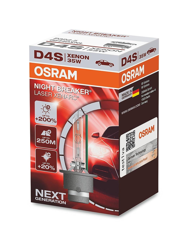 OSRAM XENARC NIGHT BREAKER LASER D4S, +200% more brightness, HID xenon bulb, discharge lamp, 66440XNL, folding box (1 lamp) OSRAM GmbH
