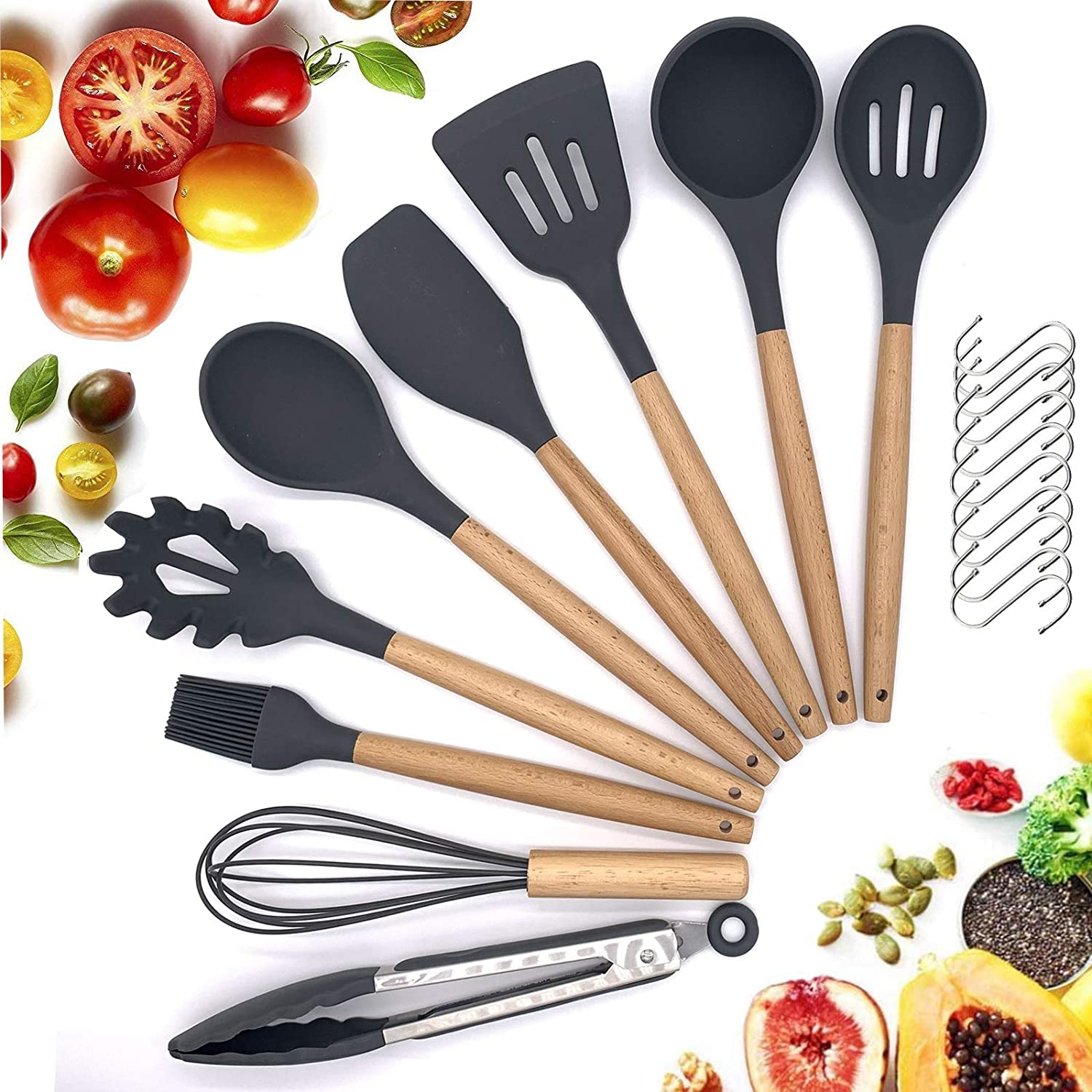Silicone Cooking Utensils Set With Wood Handle,Non-stick Safe Food Grade Silicone Kitchen Utensils For Cooking,Heat Resistant & Flexible Silicone Kitchen Utensils,12pcs Spatula Set 10 S Hooks
