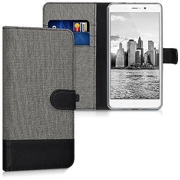 kwmobile Funda para Xiaomi Mi 5s Plus - Carcasa de Tela y [Cuero sintético] - con Tapa y [Tarjetero] [Gris/Negro]
