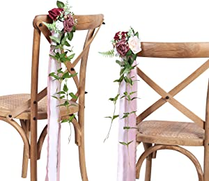 DORIS HOME Wedding Aisle Decorations Mauve Burgundy Pew Flowers Set of 10 for Wedding Ceremony Party Chair Decor with Artificial Flowers Eucalyptus and Ribbons