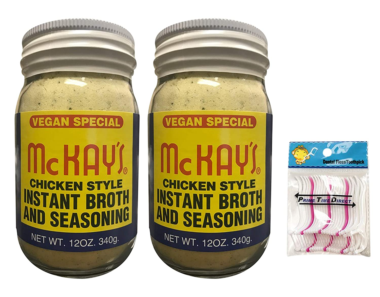 McKay's Chicken Style Instant Broth & Seasoning, Vegan, 12 oz (Pack of 2) Bundled with PrimeTime Direct 20ct Dental Flossers in a PTD Sealed Bag
