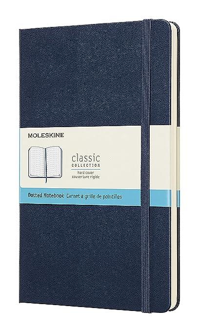 Moleskine - Cuaderno Clásico con Páginas Puntinada, Tapa Dura y Goma Elástica, Color Azul Zafiro, Tamaño Grande 13 x 21 cm, 240 Páginas