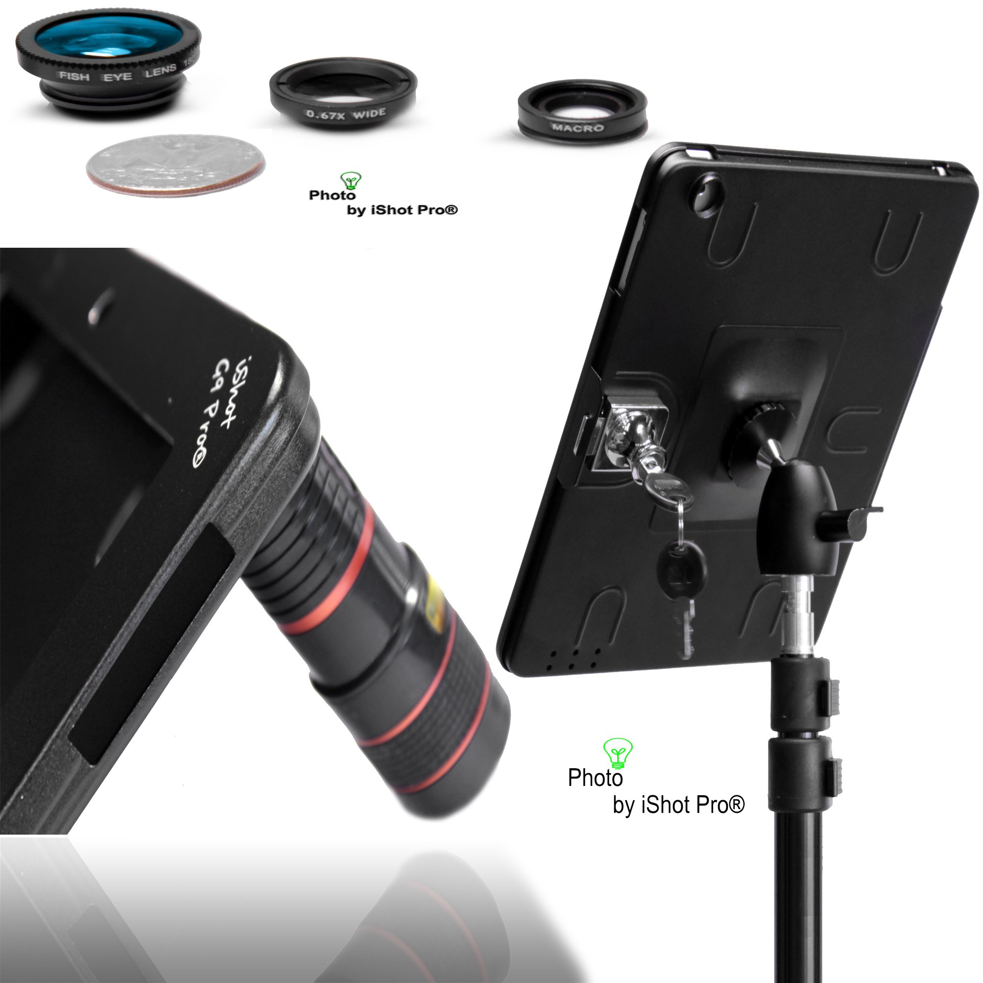 G9 Pro iPad 2 3 4 Tripod Mount Adapter with 4in1 Lens Kit - (1) 8x Zoom Lens / (1) Fish Eye Lens / (1) Wide Angle Lens / (1) Macro Lens (For iPad 2, 3 or 4 Retina) Features Built-in Keyed Security Lock by iShot Pro Mounts - Easily and Safely Mount Your iP