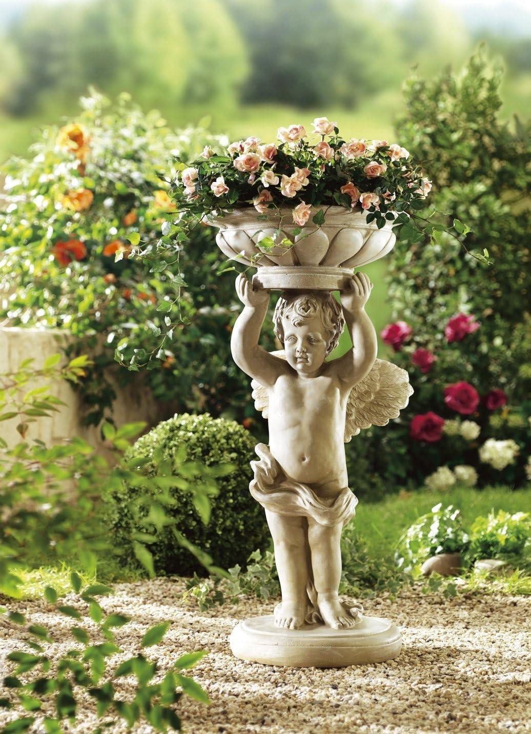 ABC Home Garden Engel Pflanzschale antik-wei/ß 34 x 34 x 76.5 cm