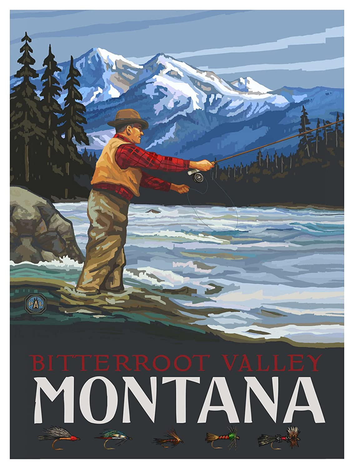 Bitterroot Valley Montana Fly Fisherman Stream Mountains Travel Art Print Poster by Paul A Lanquist 12 x 18