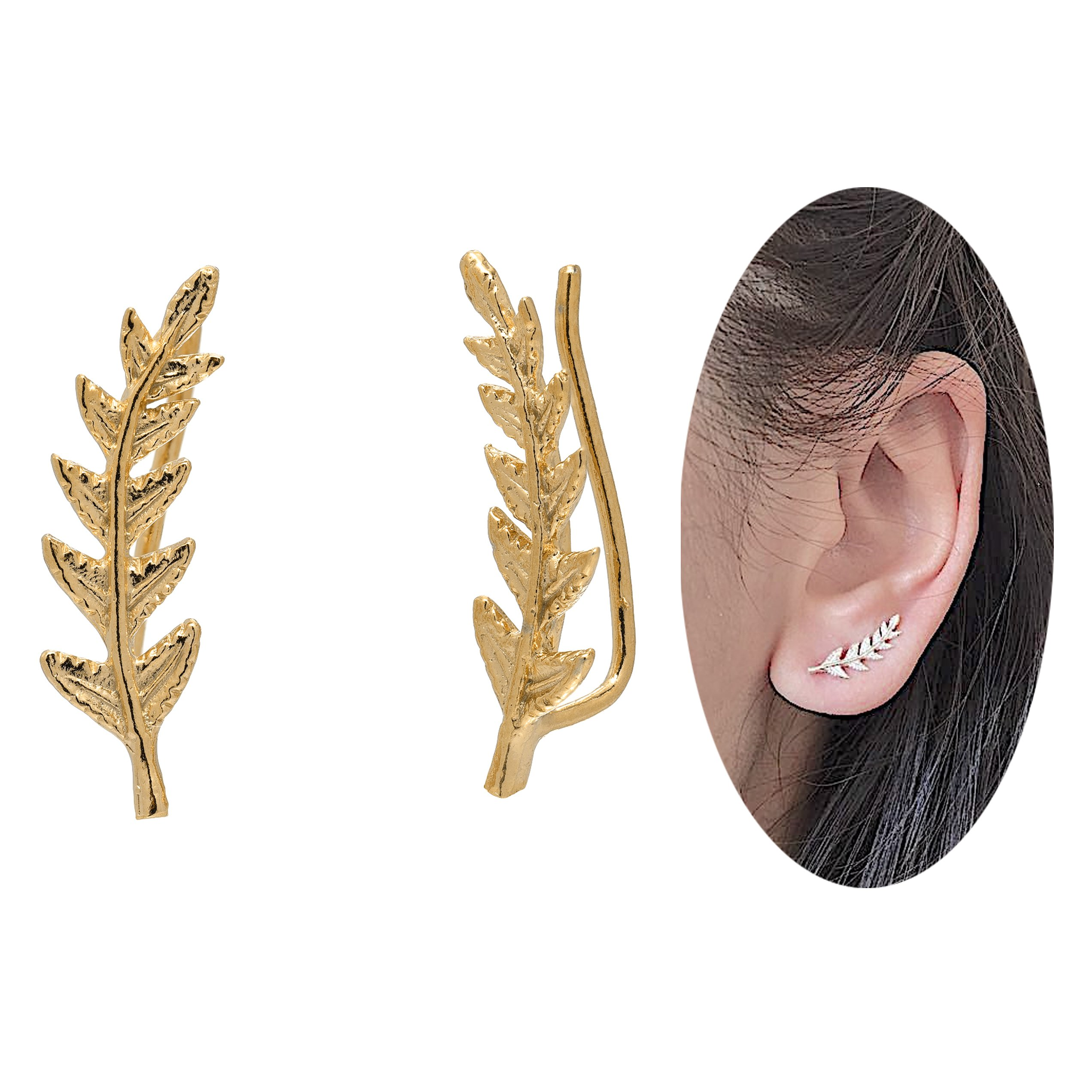 Leaf Crawler Cuff Earrings, Olive Leaf - 925 Sterling Silver with 18K Yellow Gold Plating