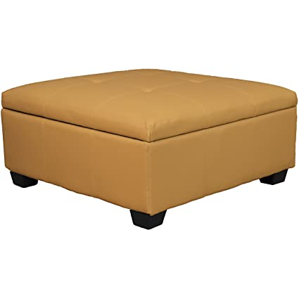 Outstanding 36 X 36 X 18 High Tufted Padded Hinged Storage Ottoman Bench Leather Look Buckskin Ncnpc Chair Design For Home Ncnpcorg