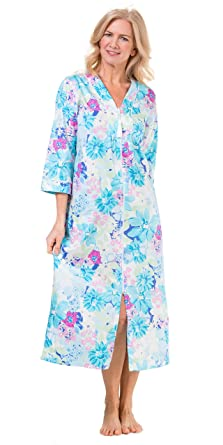 4a82fcdbc6 Miss Elaine Zip Front Long 100% Cotton Robe in Turquoise Garden  (Turquoise Blue Floral