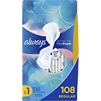 Always Infinity Feminine Pads for Women, Size 1, Regular Absorbency, with Wings, Unscented, 36 Count - Pack of 3 (108 Count Total) (Packaging May Vary)