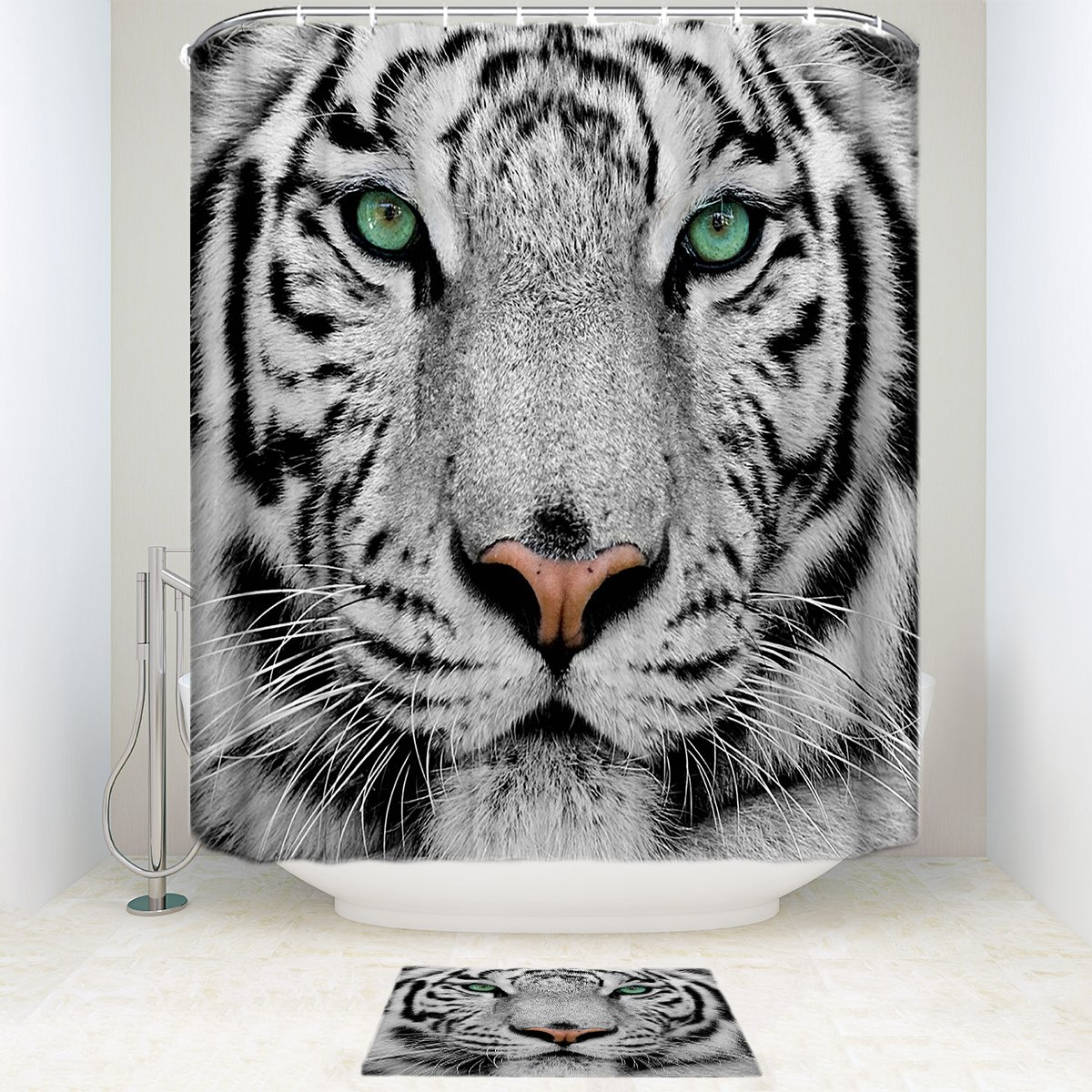 well-wreapped OneHoney White Tiger Face Animal Polyester Fabric Bathroom Shower Curtain Set with Bath Mats Rugs 72 x 72 inch & 23.6x15.7inch