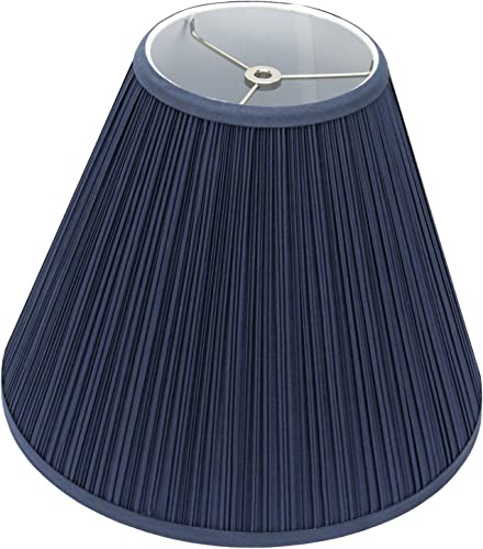 FenchelShades.com Lampshade 6 Top Diameter x 14 Bottom Diameter x 11.5 Slant Height with Washer Spider Attachment for Lamps with a Harp Pleated Navy