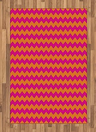 Amazon Com Ambesonne Orange And Pink Area Rug Horizontal Zigzag
