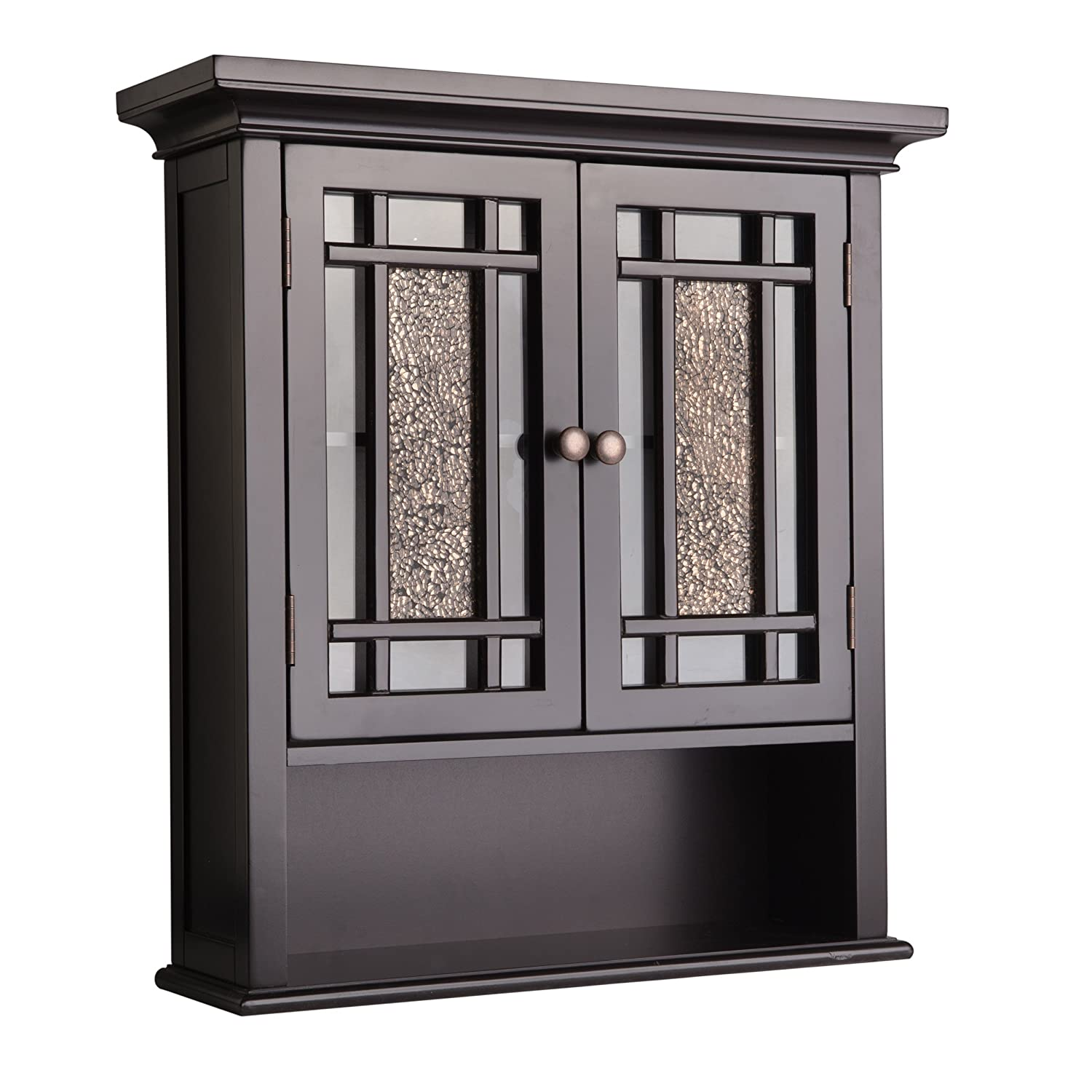 Amazon com elegant home fashions whitney wall cabinet with 2 doors and 1 shelf kitchen dining