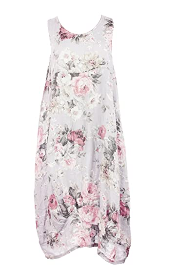 fc3416b74115 TEXTURE Ladies Womens Italian Lagenlook Floral Print Sleeveless 2 Pocket  Linen Tulip Midi Dress One Size (White, One Size): Amazon.co.uk: Clothing