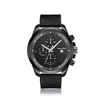 Mens Watche Brismassi Esetti Minimalist Quartz Wristwatch Chronograph Black  Genuine Leather Luxury Watch acd092c1835bb