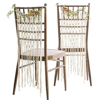 Lingu0027s Moment Bohemian Bride And Groom Chair Signs, Wedding Chair Hanger,  Macrame Wall Hanging