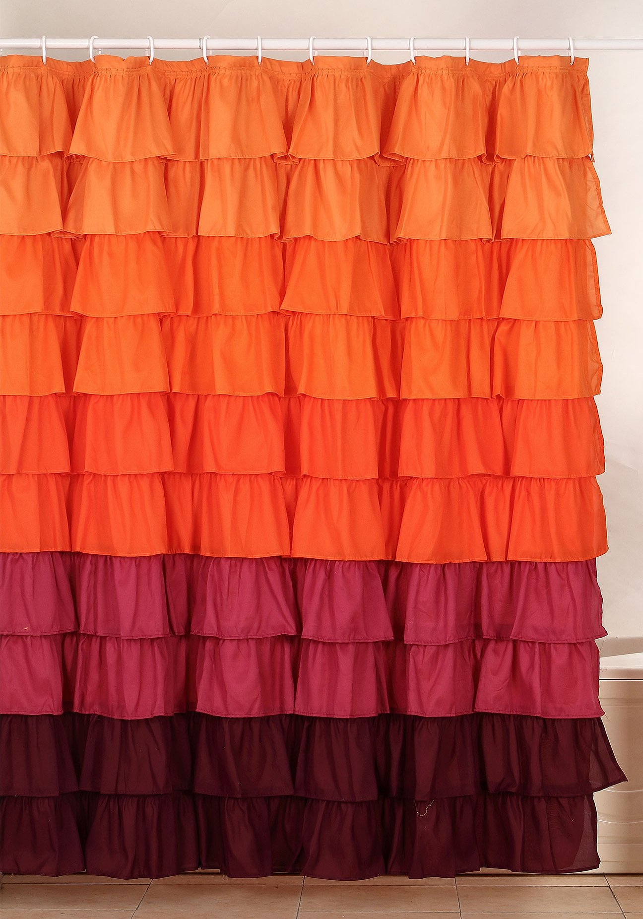 Lavish Home Harvest Ruffle Shower Curtain with Buttonhole