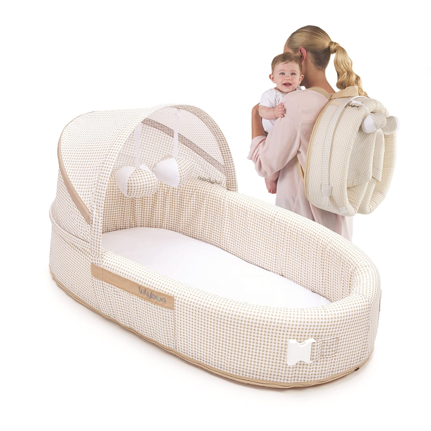 LulyBoo Baby Lounge To Go - Portable Infant Bed Folds Into Backpack - With Activity Bar And Rattle Toys (Beige) BLF N 001