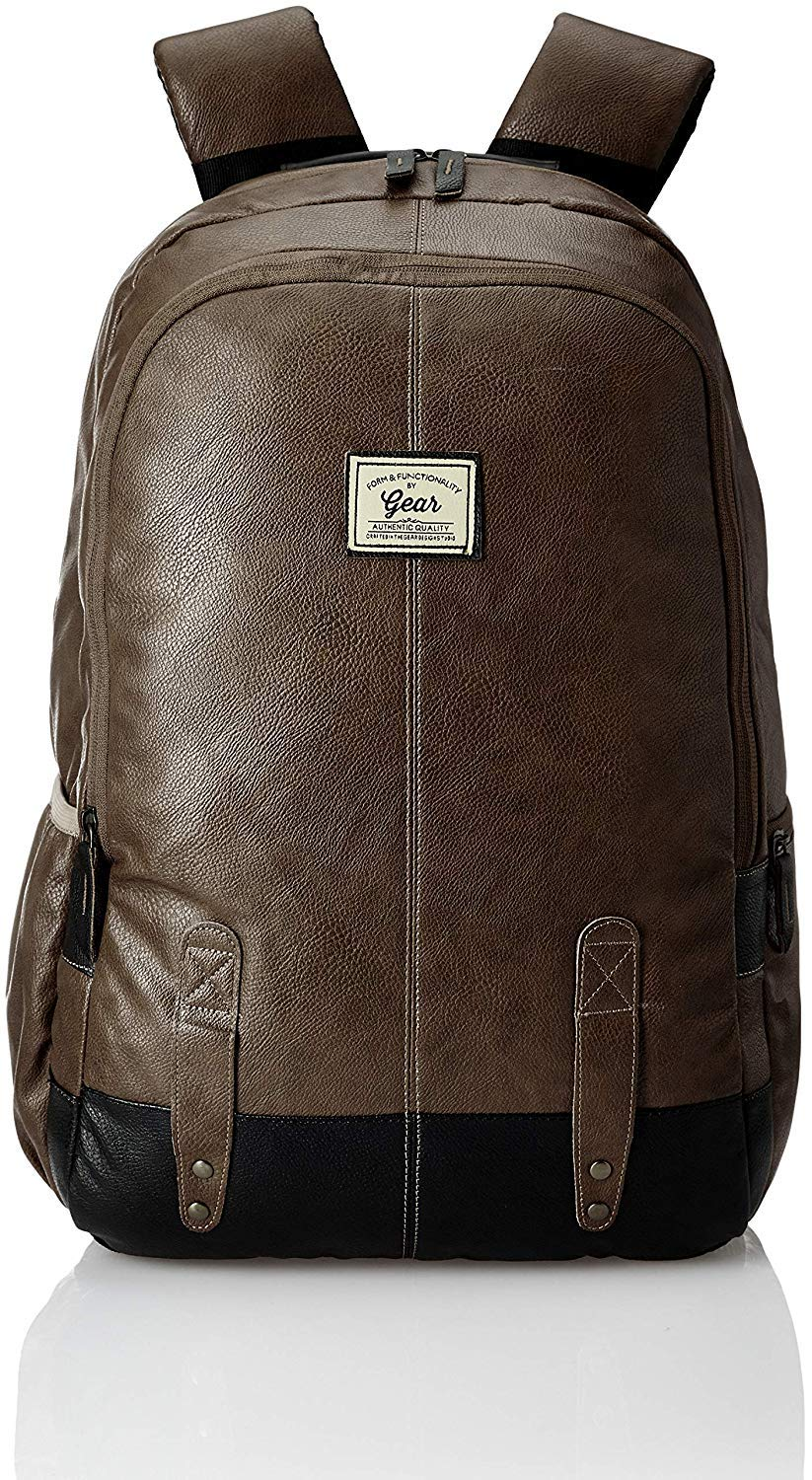 Gear Classic Anti Theft Faux Leather 20 Ltrs Brown Laptop Backpack (LBPCLSLTH0201) product image