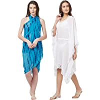 SOURBH Swim Coverup Kaftan & Sarong for Women Combo Value Pack Body Wrap Beach Wear Dress- Set of 2 (S371_SK434 - Turquoise & White - Free Size)