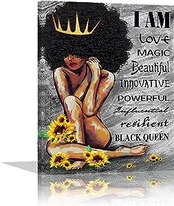 African American Wall Art Black Girl Magic Sunflower Inspirational Canvas Prints Black Queen Art Home Decor for Living Room Women Bedroom Bathroom Office Framed Ready To Hang (12