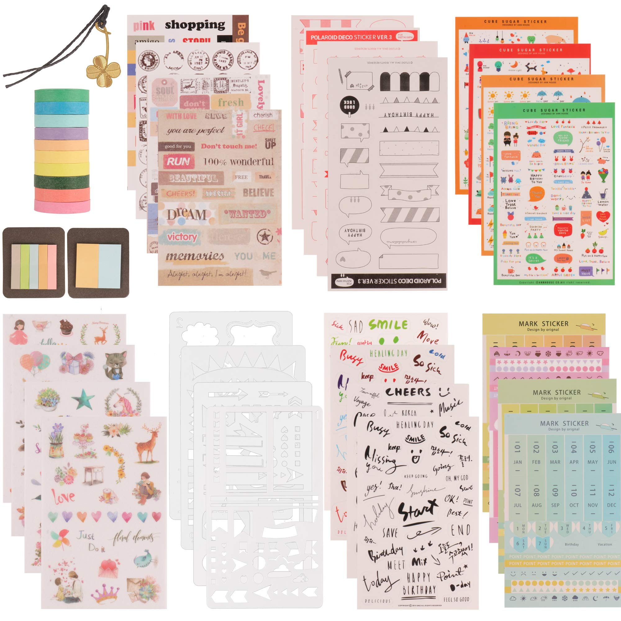 SUBANG 62 Pieces Journal Supplies Kit Include 39 Sheets Planner Stickers, 10 Stencil Sheets, 2 Booklet of Sticky Notes, 10 Thin Washi Tape Rolls,1 Bookmark - Perfect to Make Planners and Organizers by SUBANG