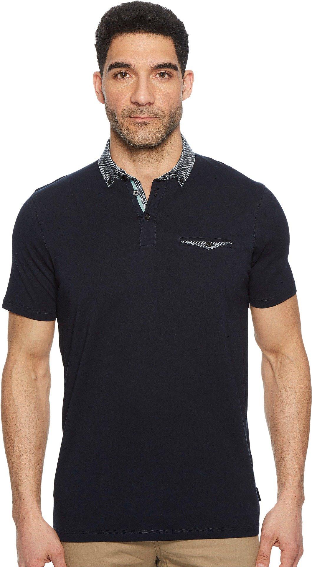Ted Baker Men's Movey Short Sleeve Woven Geo Collar Polo Navy 5