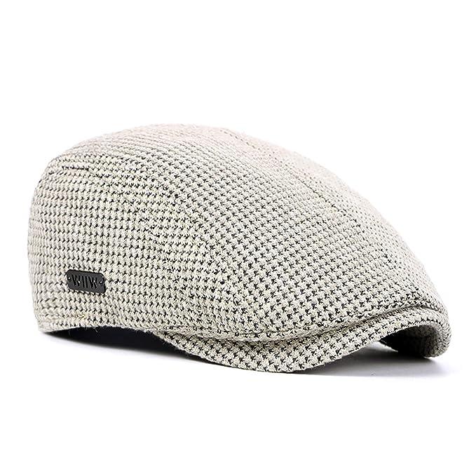 74ad34aa917 AOXION Men s Cotton Flat Ivy Gatsby Newsboy Cabbie Driving Golf Hat Cap  (Beige)