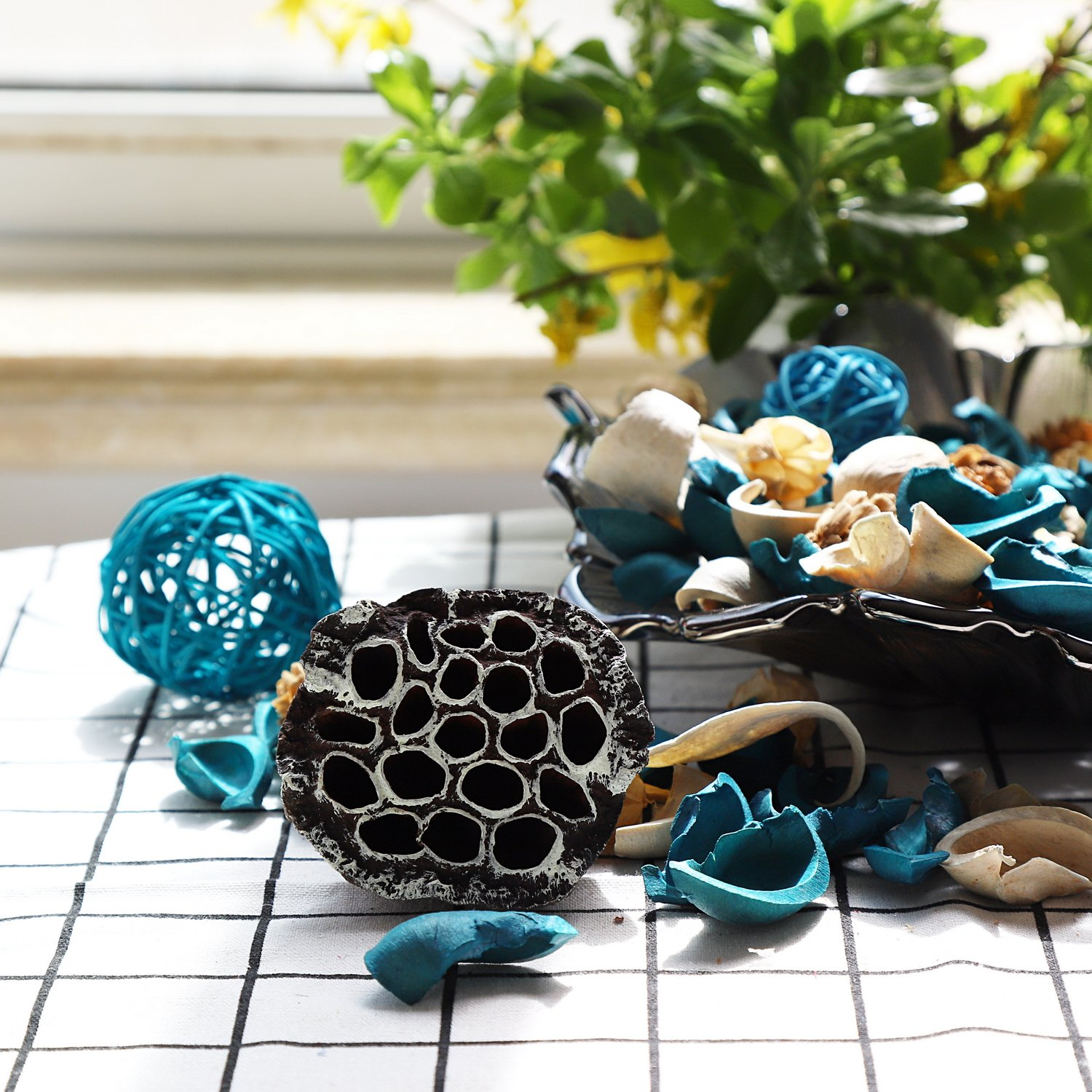 Qingbei Rina Ocean Scent Summer Potpourri Bag Decorative Perfume Sachet, Rattan Balls Lotus Pods Pine Cones Dried Flowers and Plants, 9.9 Ounce Turquoise Blue by Qingbei Rina (Image #3)