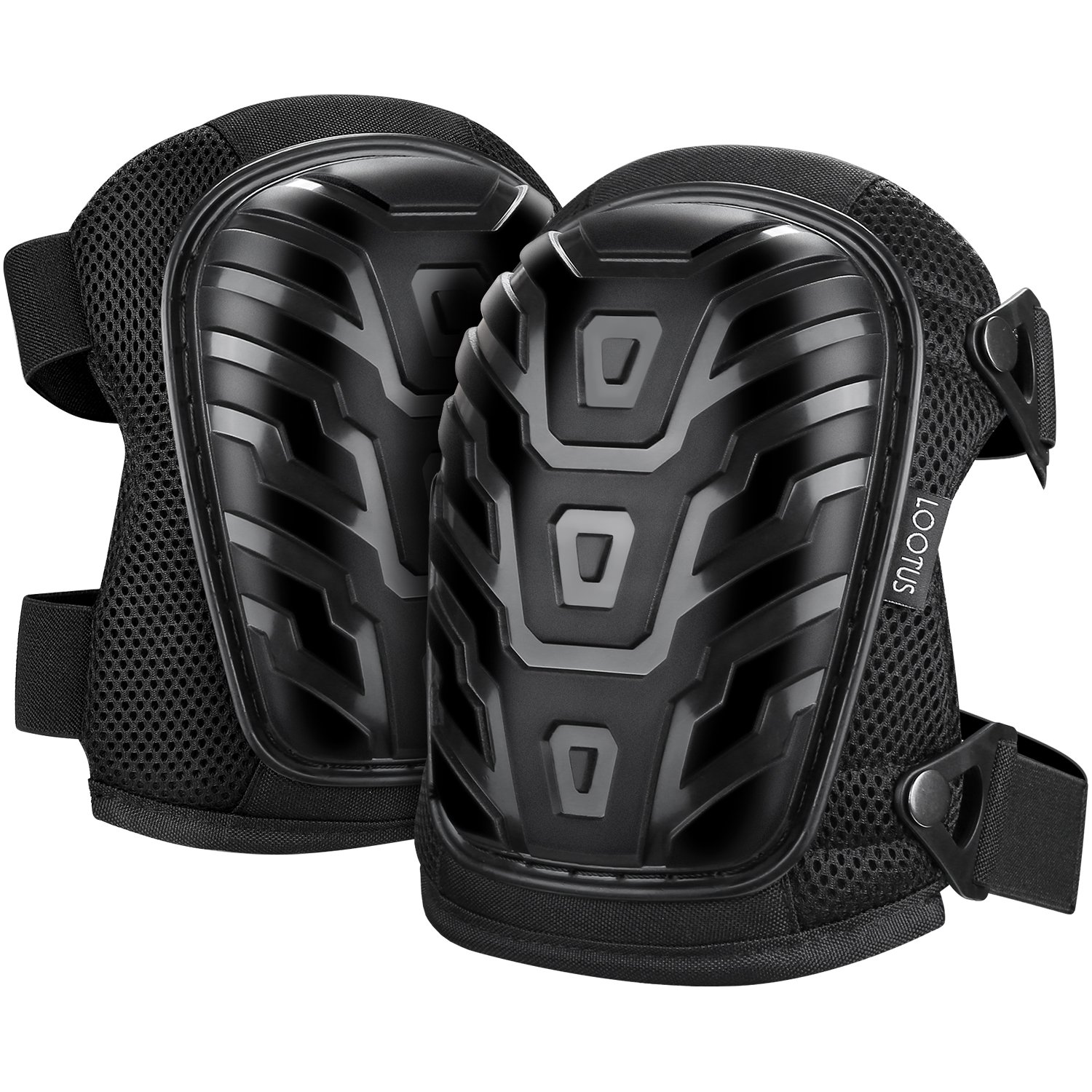 LOOTUS Construction Knee Pads with Heavy Duty Foam Padding, 2 Adjustable Straps, Easy-fix Clips and Soft Gel Cushion, Ideal for Gardening, Flooring Cleaning, Professional Knee Pads for Work