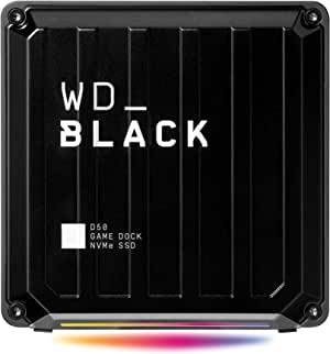 Western Digital_Black D50 NVMe SSD Game Dock, 1TB. Thunderbolt 3, DisplayPort 1.4, 2X USB-C, 3X USB-A, Audio in/Out, Gigabit Ethernet; up to 3000MB/s Read & 2500MB/s Write Speed