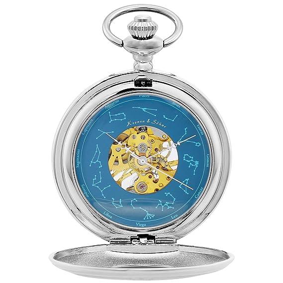 KS Reloj de Bolsillo Hombre con Cadena Antiguos Steampunk Esqueleto Mecánico con Caja de Regalo KSP098