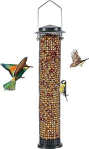 MIXXIDEA Metal Bird Feeder, Hanging Wild Bird Feeders, Rust Proof Bird Feeder for Garden, Mesh Hanging Bird Feeder, Great for Attracting Birds (Antique Green-1pk)