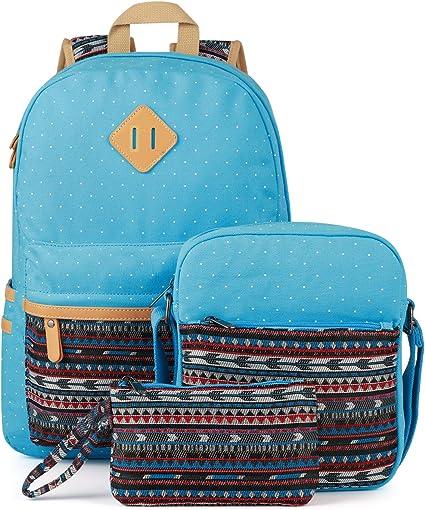 HJT/®Canvas Backpack Vintage Colorful Stripe School Bag for Youth Teenager Girls and Boys Lightweight Cute Waterproof Casual Daypack Holds 14 Inch Laptop School Shoulder Bag Rucksack Black