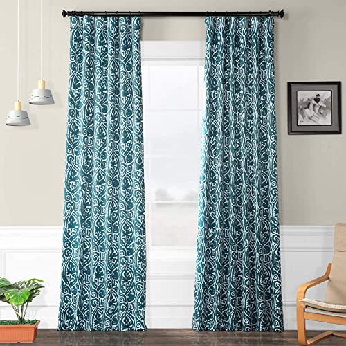 HPD Half Price Drapes BOCH-KC16075A-108 Blackout Room Darkening Curtain 1 Panel , 50 X 108, Abstract Teal