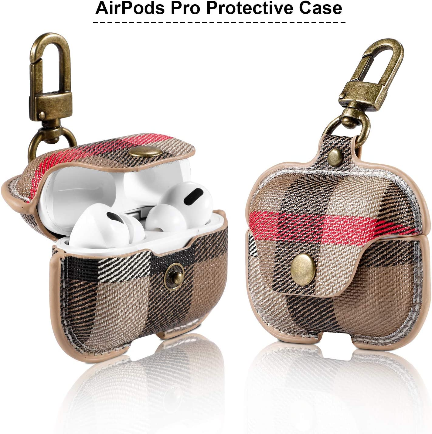 Anti-Slip Supports Wireless Charging for AirPods 3, Dust Guard Anti-Scratch AirPods Pro Protective Case Color:Black CHUANGKER PU Leather Cover with Keychain Shockproof