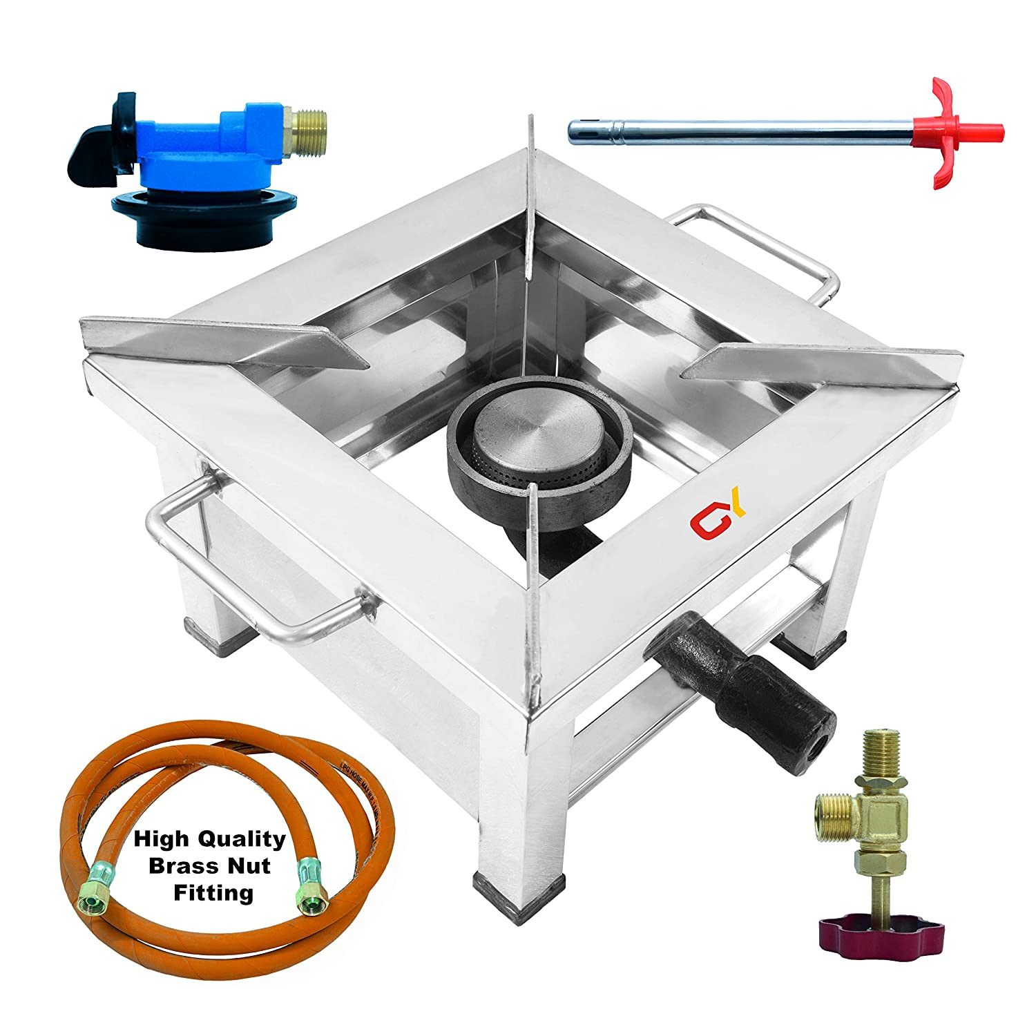 CAY Stainless Steel Single Burner Gas Stove, Silver